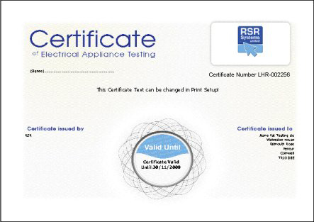 Printing a certificate for Pat testing template free